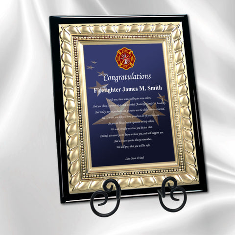 Item PLA-FIR Personalized Graduation Firefighter Poetry Plaque