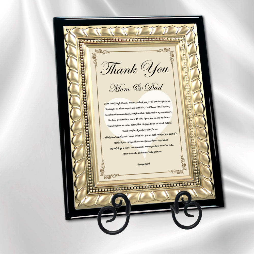Wedding Thank You Parents Gift Gold Plaque From Bride Daughter Groom