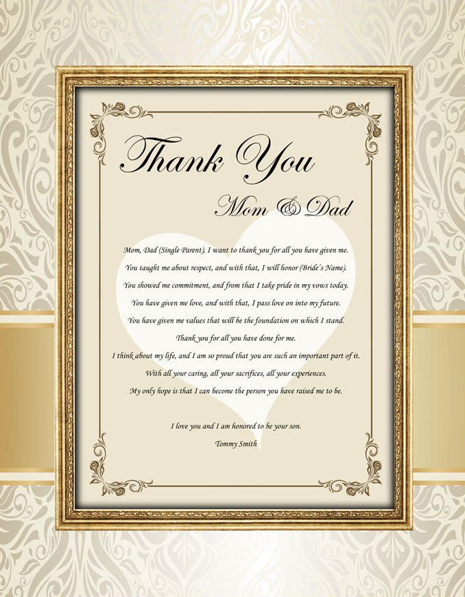 953c6975e37b Thank You Mom Dad Parents Wedding Gift Picture Frame From Bride Groom