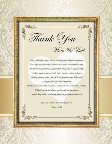 Thank you wedding gift parents from groom son daughter to mom dad