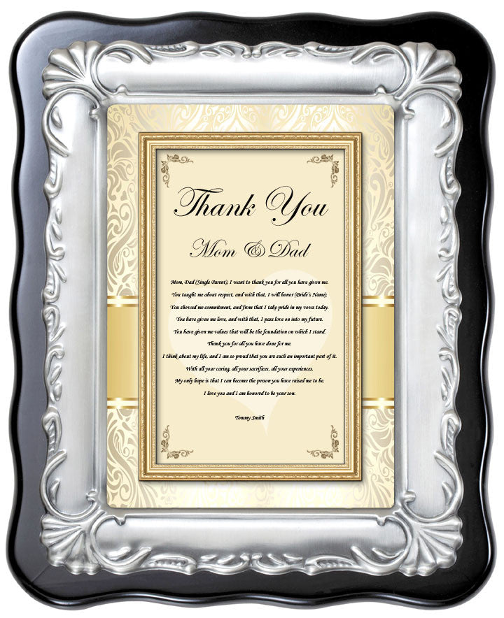Thank You Mother Father Wedding Gift from Groom Son Plaque Bride