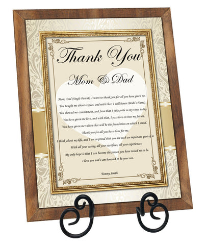 Thank you parents groom plaque