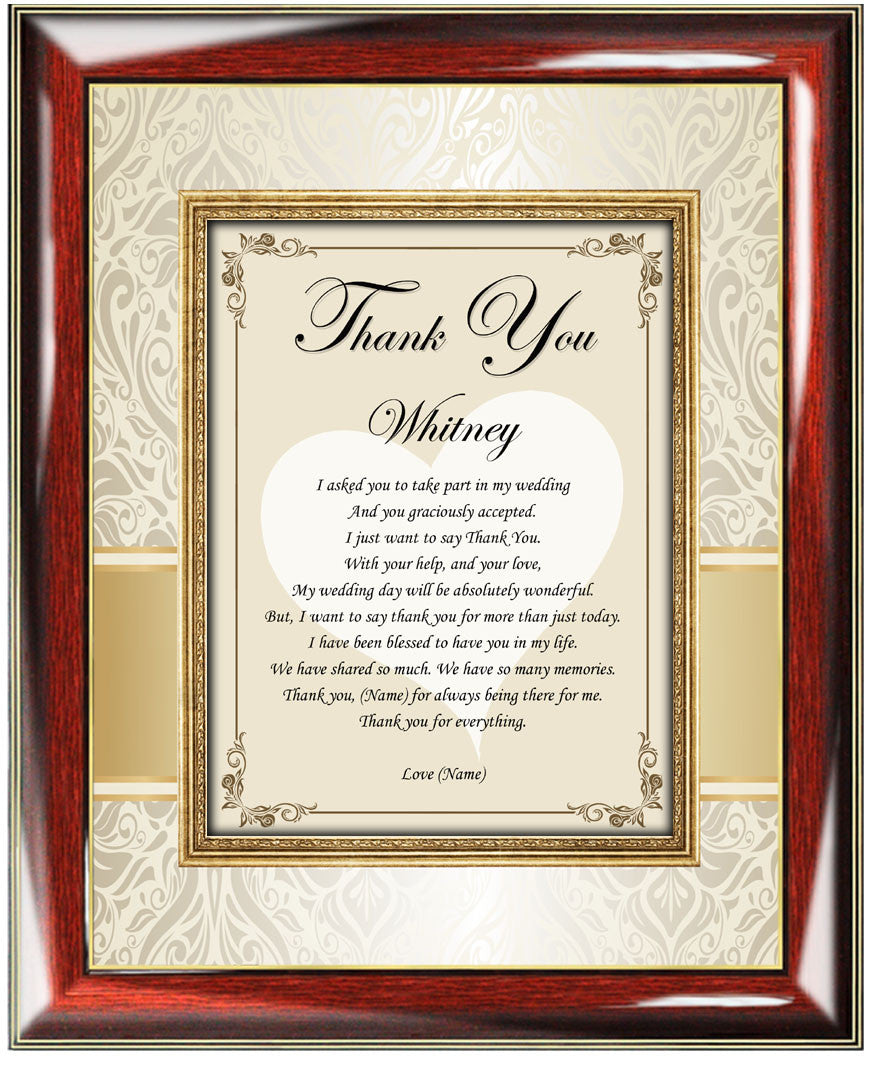 Personalized Bridesmaid And Maid Of Honor Poetry Gift