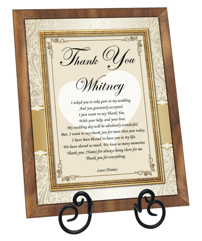 Personalized Bridesmaid and Maid of Honor Poetry Gift Frame Plaque