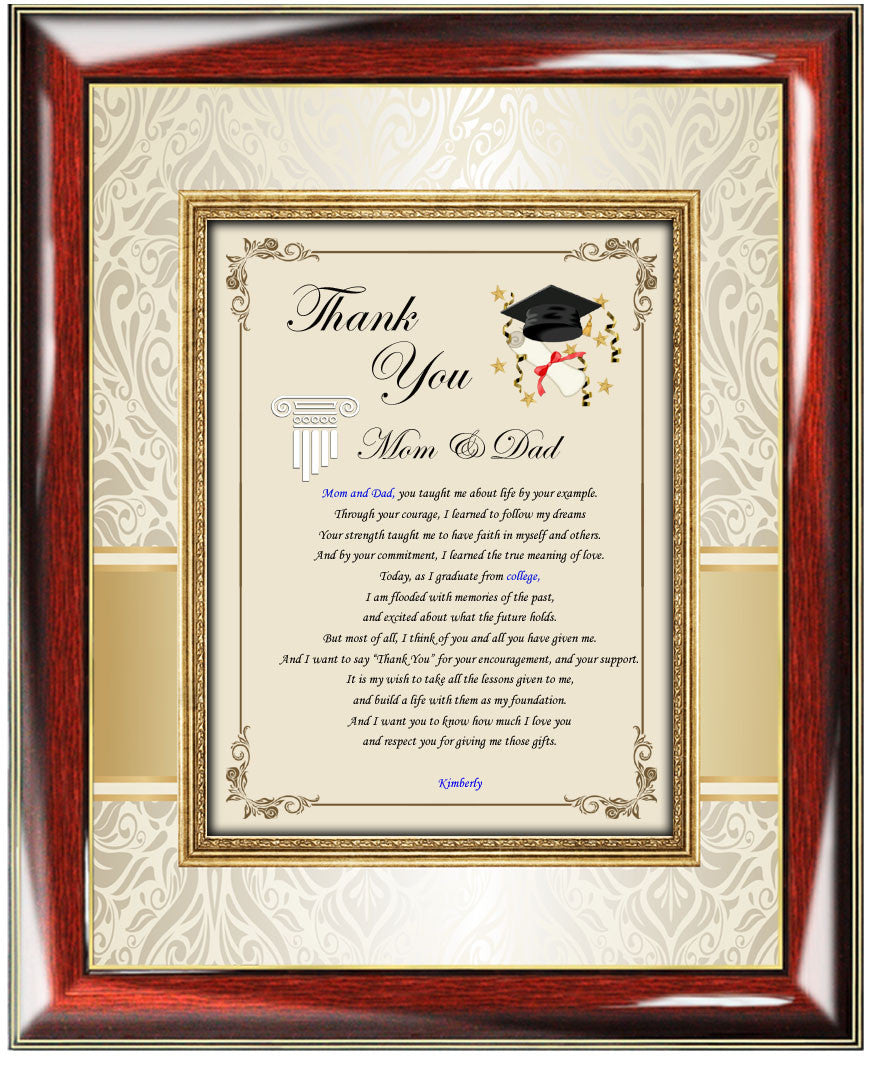 Thank you graduation gifts frame mom dad college parents ...