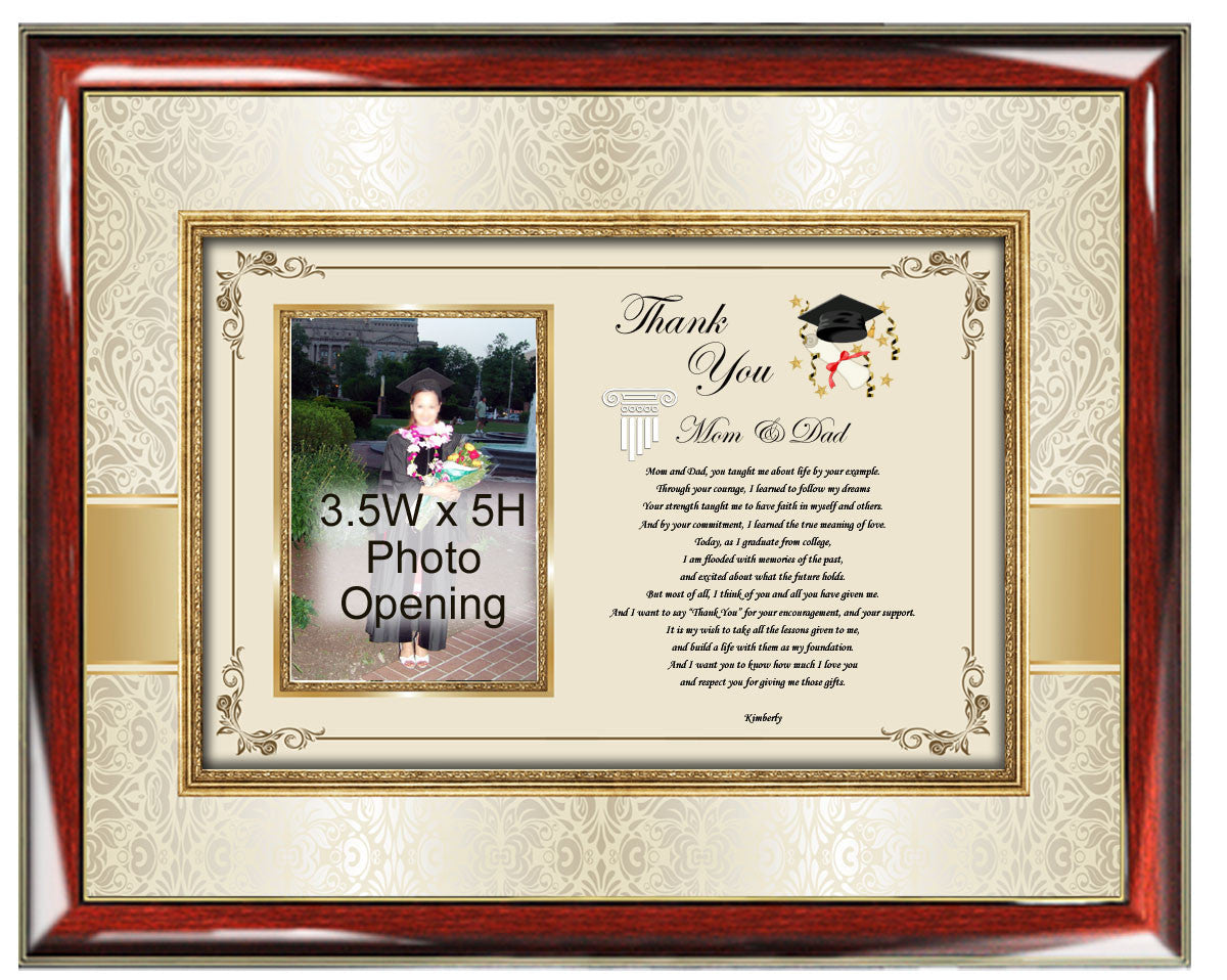 Graduation Present Parents Picture Photo Frame Thank You Gift Mom Dad