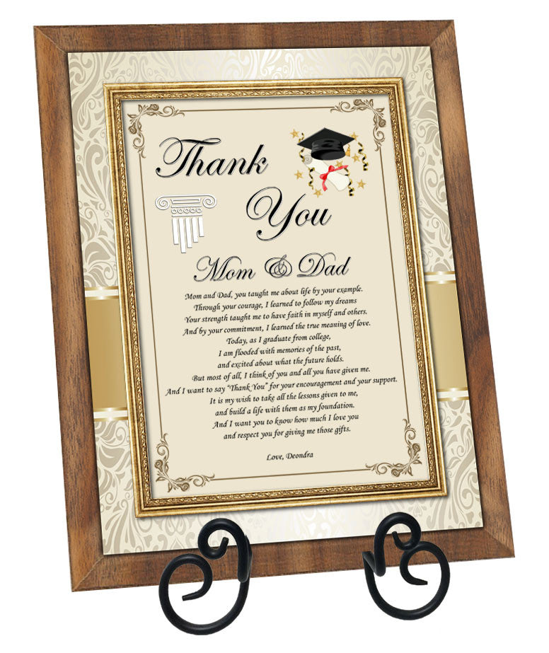 Student Thank You Graduation Gift Parents Spouse Support