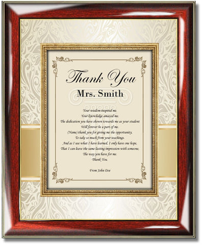 teacher thank you gift plaque