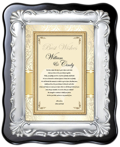 Wedding Plaque to Bride & Groom from Parents