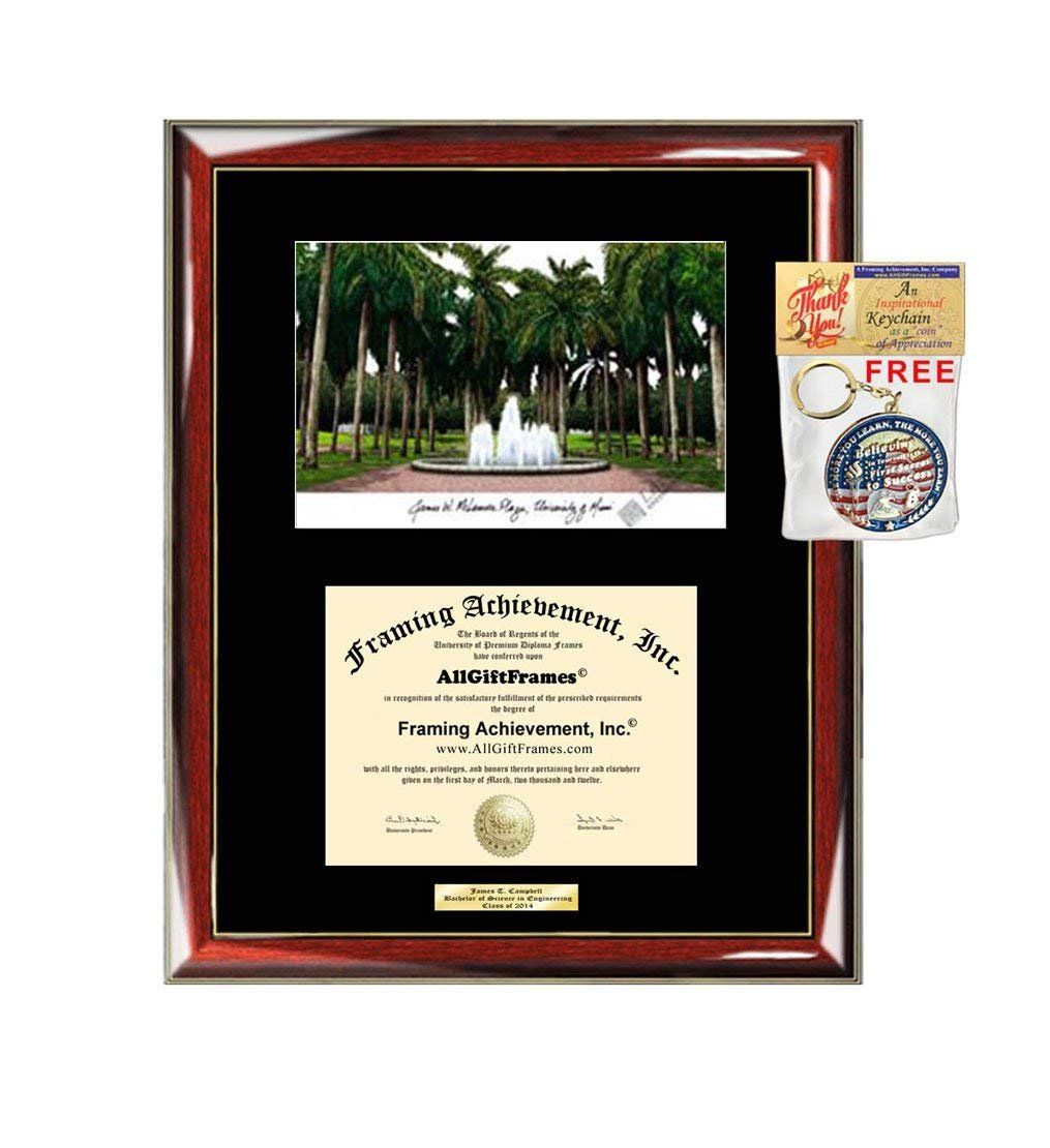 AllGiftFrames University of Miami Diploma Frame Lithograph Degree Grad