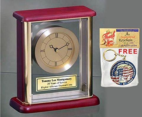 Engraved Desk Clock Encased in Glass Gold Brass Personalized desk table clock employee recognition award gift wedding anniversary retirement gift employee service recognition retire birthday