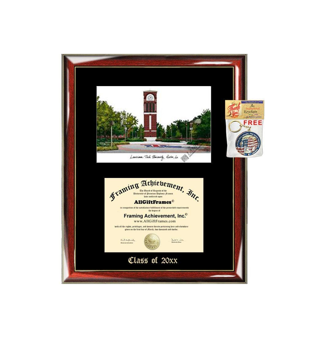 Louisiana Tech University Ltu Graduation Custom Frame Emboss Lithograp