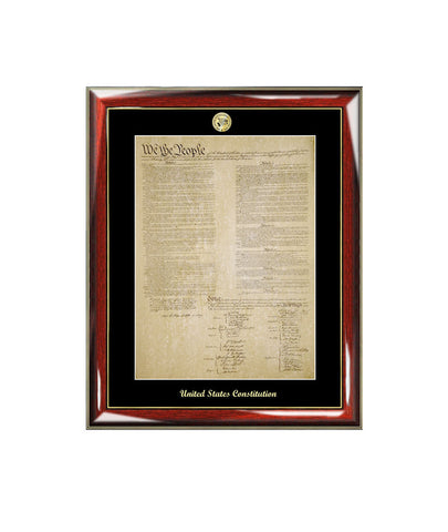 United States Constitution Frame with Gold Embossed Logo Medallion Attorney Lawyer Law School Graduates Graduation Gifts Print