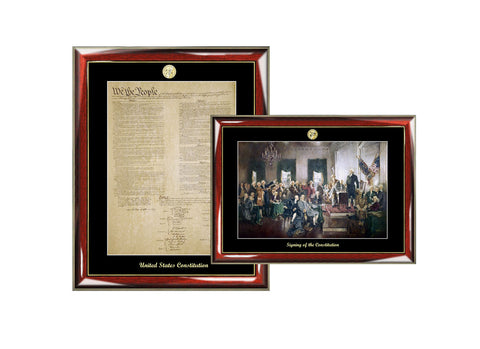 Constitution Replica Print & Signing of the Constitution Mural Painting Poster Frame Set Embossed with Gold Medallion Logo Law Gifts