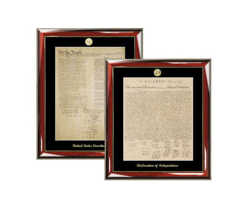 Declaration of Independence and Constitution Frame Replica Poster Set Law Gift Lawyer Citizenship School Embossed Matted Logo