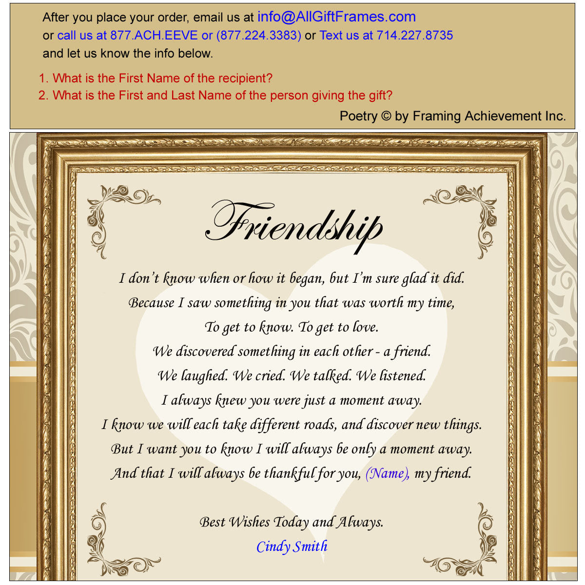 Personalized Poetry Friendship Poem Unframed 11x14 Matted Best Friends Birthday Present