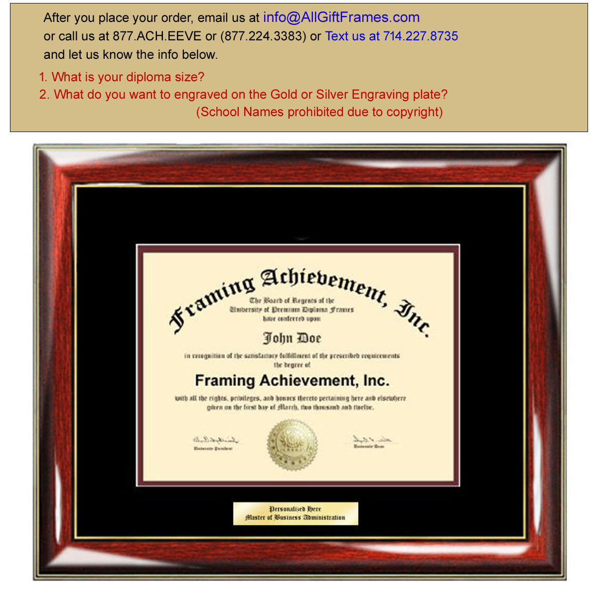 Graduation Diploma Frames - College Diploma Framing Gifts Certificate