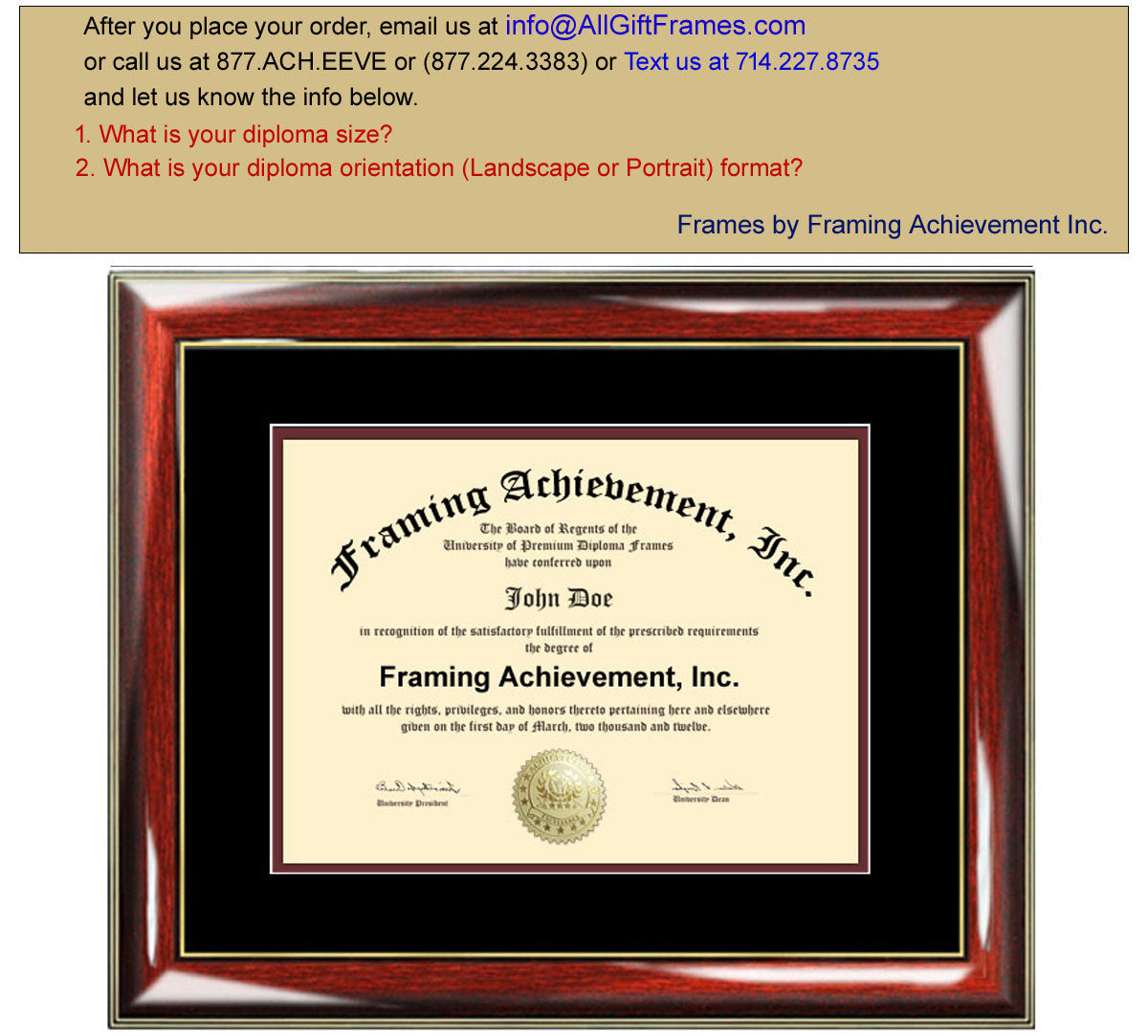 frames certificate diploma frame graduation degree university prestige matted mahogany maroon glossy inner mat college recognition achievement showcase gifts