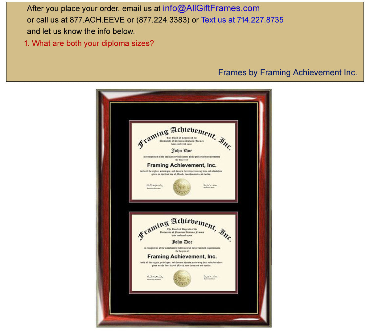 Double Degree Frame Dual Diploma Frames Two Certificate Glossy Prestig