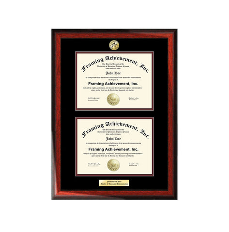 University Double Diploma Frames Graduation Engraved College Degree College Major Logo Satin Rich Mahogany Top mat Black Inner matted Maroon
