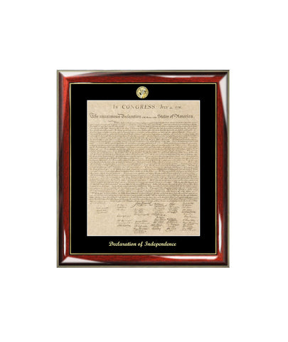 Declaration of Independence Frame Replica Print Gold Logo & Embossing Matted Black Attorney Lawyer Law School Graduates Graduation Gift