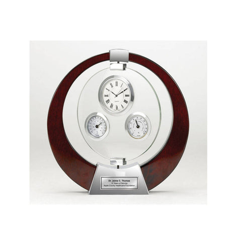 Saturn Cherry Wood Clock with Glass Swivel Thermometer, Hydrometer and Silver Engraving Plate Retirement Gift Anniversary Recognition Award
