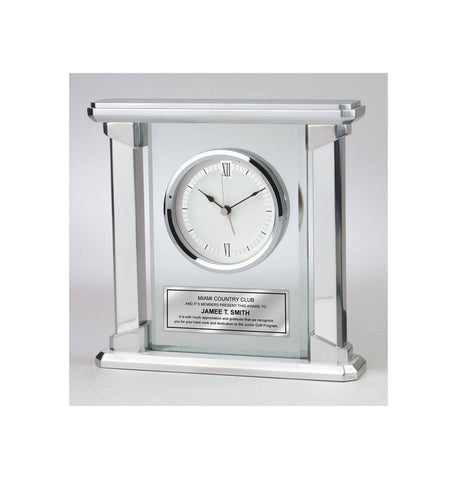 Personalized Brush Silver Desk Clock Glass Panel Concentric Platinum Silver Engraving Plate Retirement Appreciation Wedding Recognition Gift
