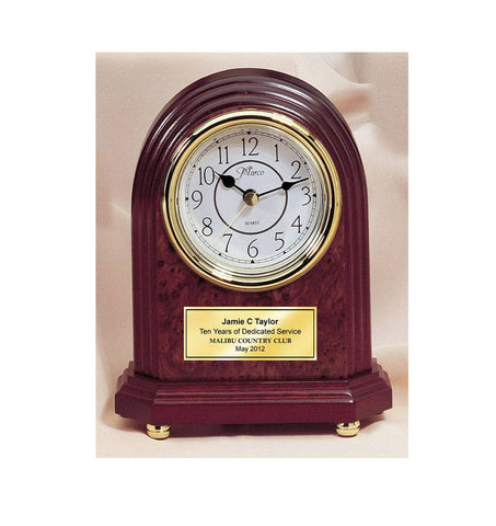 Classic Arch Desk Engraved Clock with Gold Foot Base and Gold Engraving Plate Anniversary Wedding Birthday Retirement Recognition Award