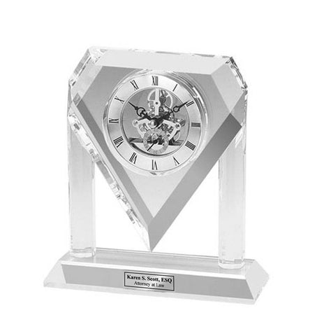Personalized Engraved Clock Da Vinci Diamond Crystal Clock with Silver Engraving Plate. Unique Wedding Anniversary Retirement Service Award