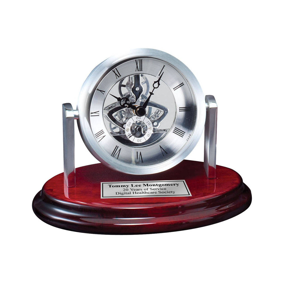 Engraved Desk Clock Da Vinci Gear Dial On Cherry Base With Silver Engr