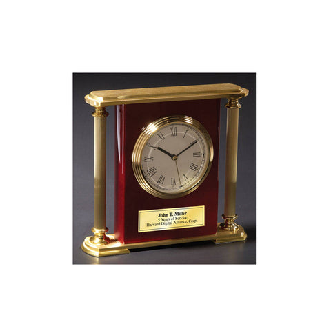 Engraved Clock Desk Table Shelf Clock Gold Brass Columns Wedding Retirement Anniversary Gift Employee Service Recognition Promotion Gift
