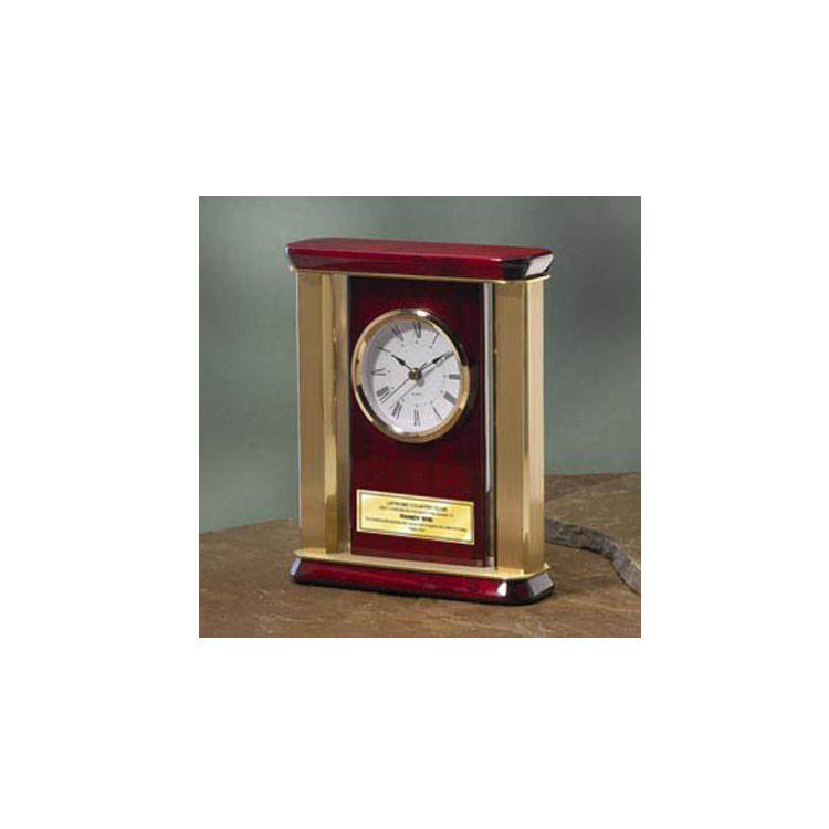 Personalized Desk Clock With Gold Brass Columns Engraving Plate Anniv