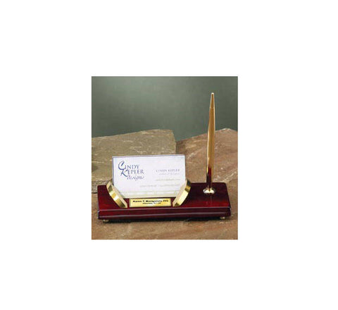 Engraved Gold Accents Business Card Holder Pen Set Gift As Personalized Employee Recognition or Executive Service Graduation Engraved Award