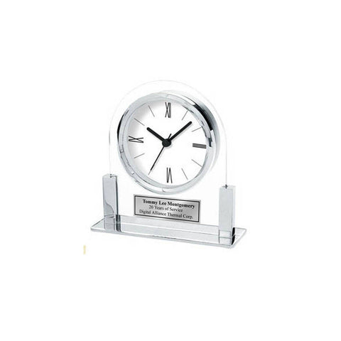 Engraved Silver Arch Acrylic Clock with Metal Chrome Base Personalized Birthday Employee Recognition Service Award Retirement Coworker Gift