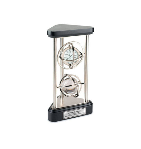 Gyro Spinning Desk Clock Crystal Globe on Silver Pillars with Silver Engraving Plate Retirement Gift Recognition Award Wedding Anniversary