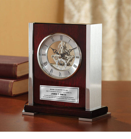 Personalized Desk Clock Envoy Da Vinci Dial Wood Cherry with Silver Casing and Engraving Plate Recognition Wedding Award Retirement Gift