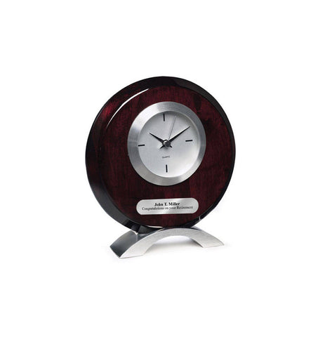 Engraved Round Silver Table Desk Clock with Silver Modern Base Engraving Plate. Personalized Anniversary Recognition Award Retirement Gift