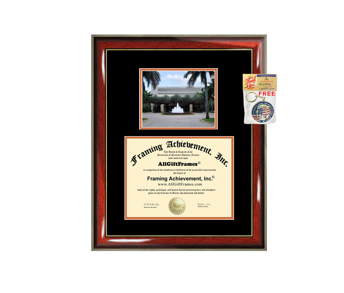University of Miami diploma frame campus photo certificate framing gra