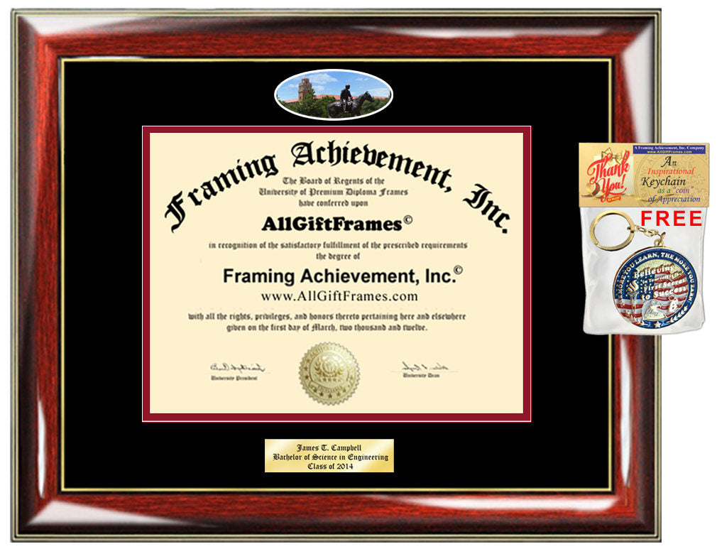 Texas Tech diploma frame campus university picture TTU degree certific