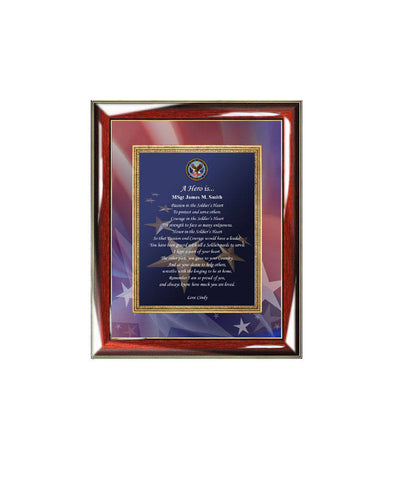Military Veteran Retirement Gift Service Award Wall Frame Soldier Military Personalized Poetry Plaque Homecoming Away USMC Navy USAF Army
