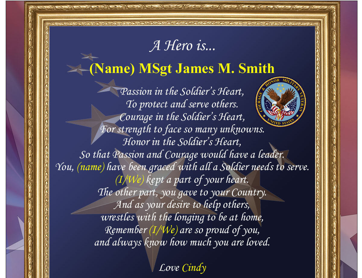 Personalized Poetry Clock Military Picture Frame Photo