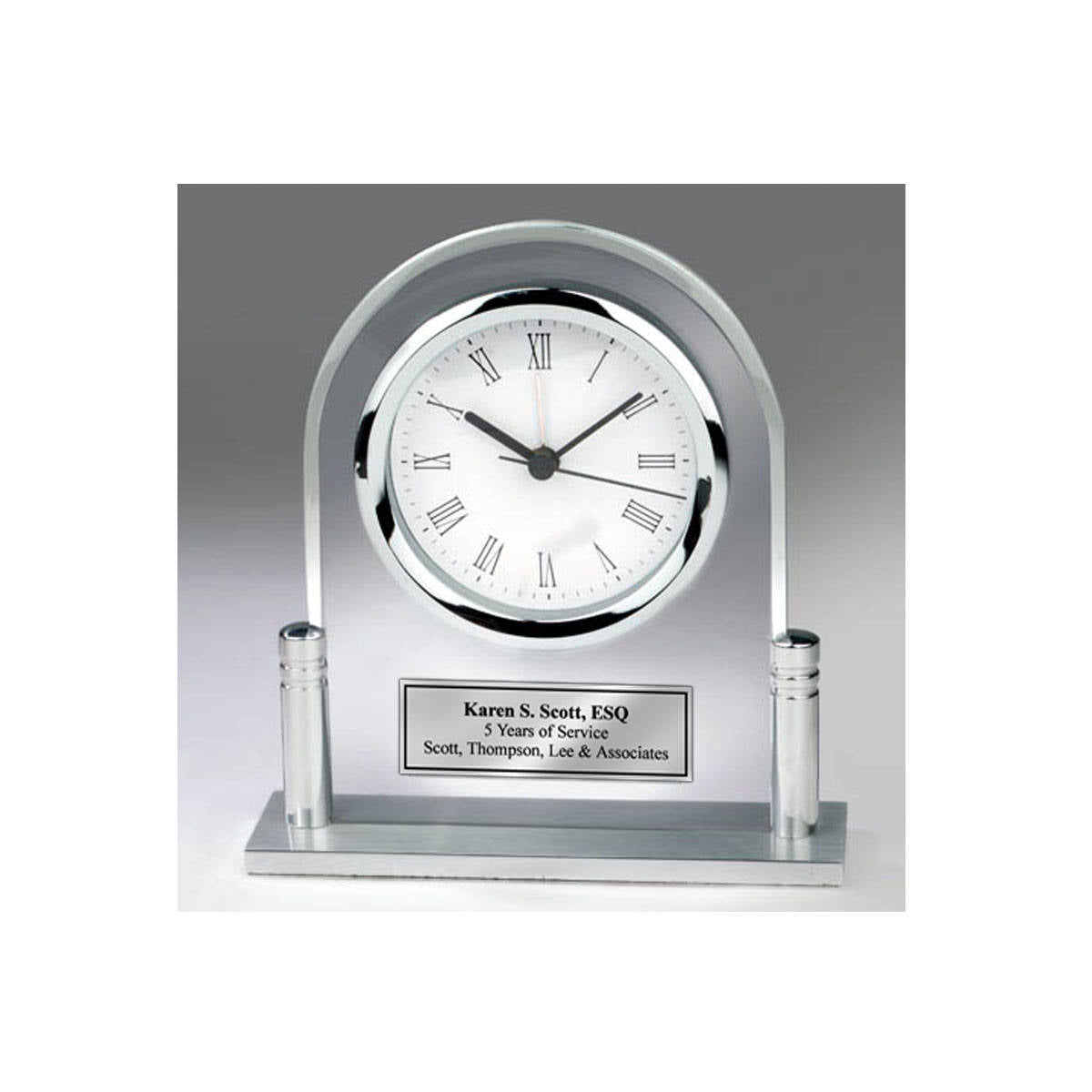 Personalized Desk Clock Acrylic Arch Metal Silver Post And Silver Engr