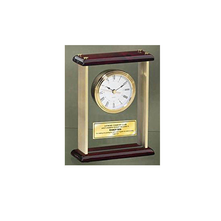 Engraved Desk Clock Personalized Enclosed In Glass Gold Brass With Gol