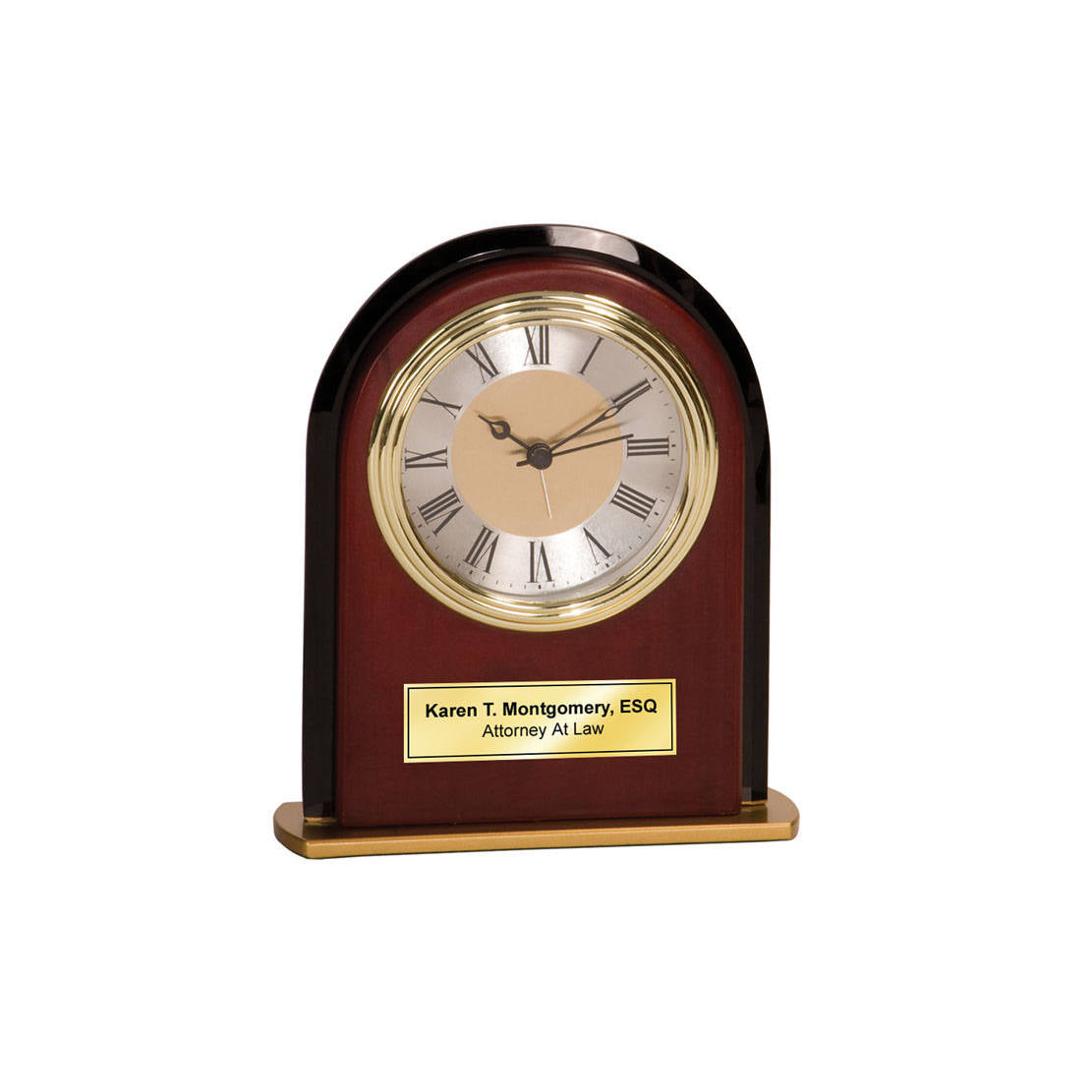 Personalized Black Glass Panel Wood Arch Mahogany Desk Clock With Gold