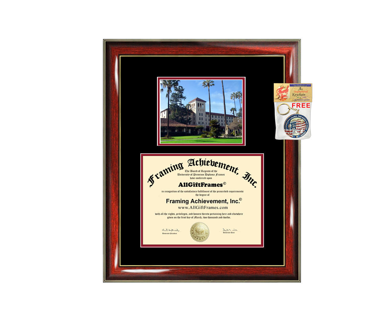 Santa Clara University Law School diploma frame SCU campus photo certi