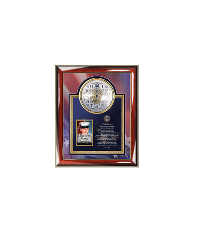 Personalized Poetry Clock Military Picture Frame Photo Plaque Navy Air Force Army USMC Semper Fidelis Retirement Discharge Military Present