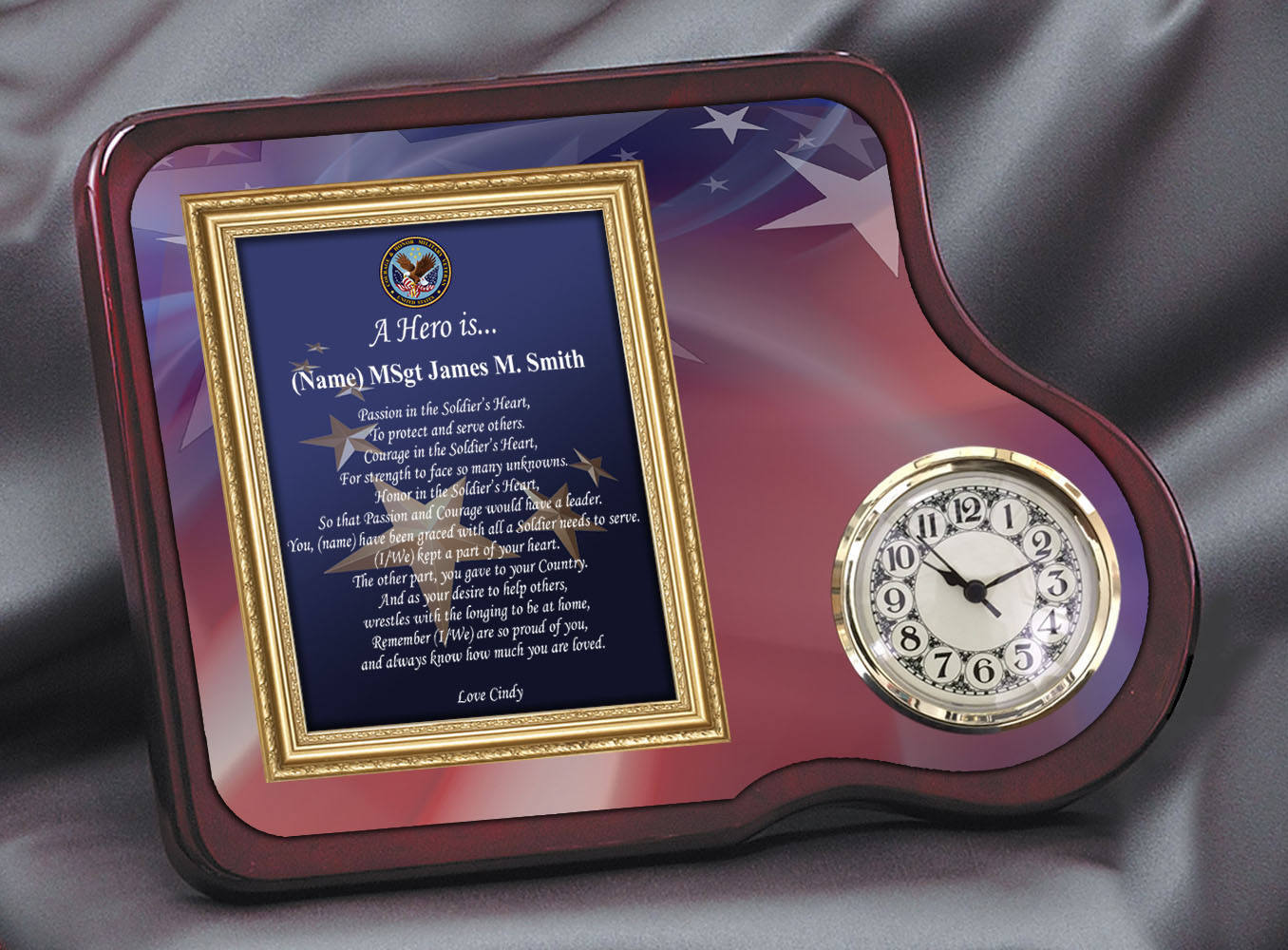 military retirement service award homecoming clock military gift poem military soldier poetry plaque retiree birthday recognition - Military Picture Frames