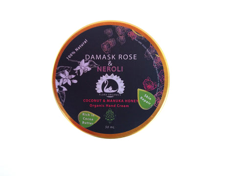 Cocoa Butter, Coconut Oil & Manuka Honey Hand Cream - Damask Rose & Neroli