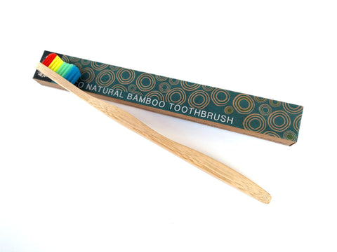 Bamboo Toothbrush - Single with Rainbow Colour Bristles