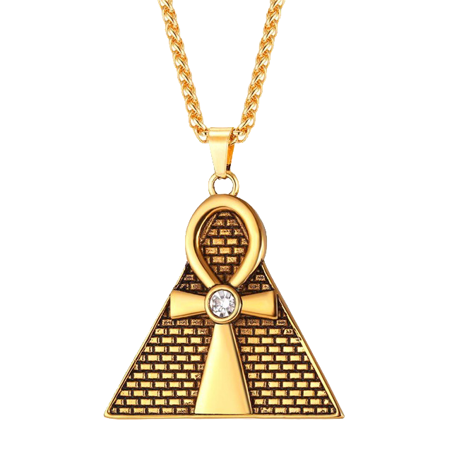 Golden Ankh Pyramid Pendant